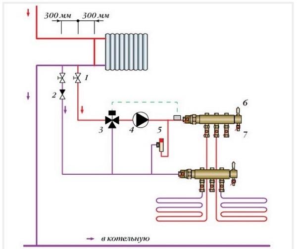Схема подключения теплого пола в центральную систему отопления