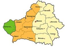 Белорусская ССР в 1946 году после установления западной границы СССР по линии Керзона. Зелёным цветом указана территория, переданная Польше