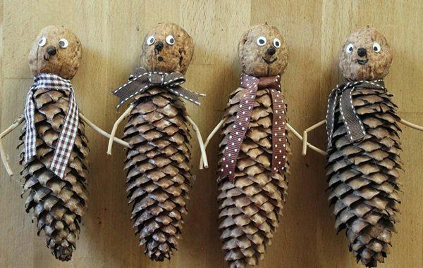 Человечки из шишек и орехов, в шарфиках (ленточках)